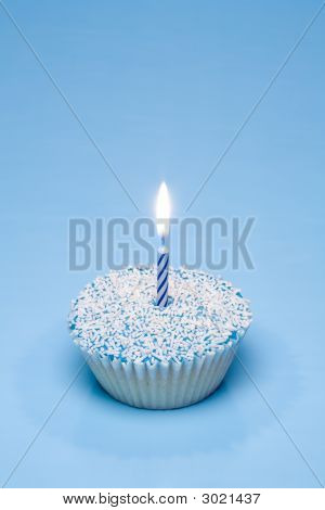 Blue Cupcake With Candle