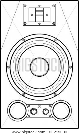 studio monitor speaker line art