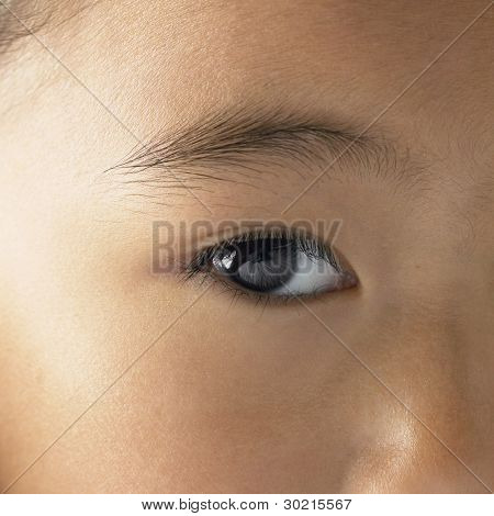 Close up of young girl's eye