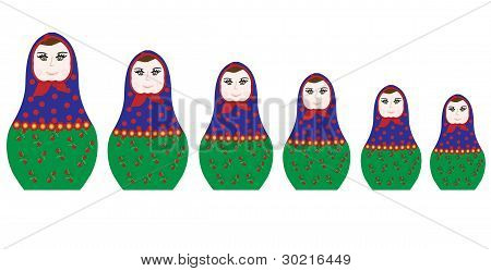 Collection of colorful Russian dolls (Matryoshka) with different patterns and colors. vector