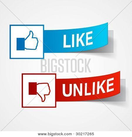Like and unlike symbols. Thumb up and thumb down signs. Vector eps10 illustration