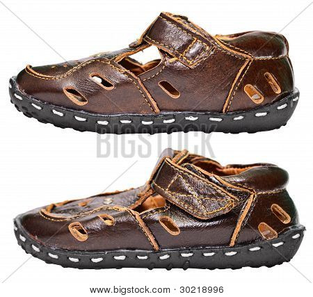 Kids Brown Leather Sandals On White