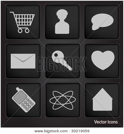 Web Icons In Black Square Button