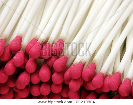 Set of red matches close up detail.