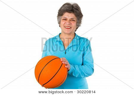 Female Senior Holding Basketball
