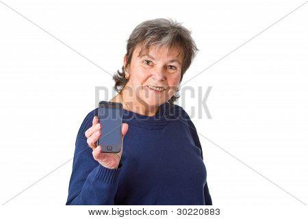 Female Senior With Her Smartphone