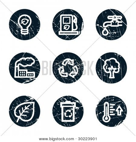 Ecology web icons set 1, grunge circle buttons