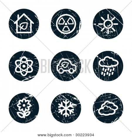 Ecology web icons set 2, grunge circle buttons