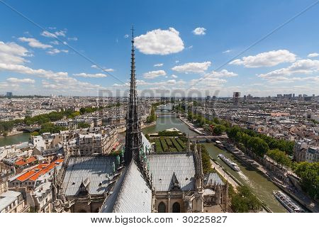 View Of Steeple Of Notre Dame Looking Over Paris