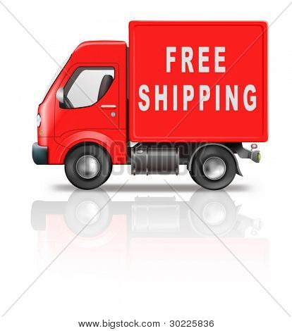free shipping or deliver by red shipment truck concept for sending package from online web shop order