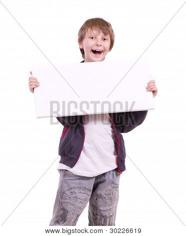 Little beautiful boy with banner add on white background