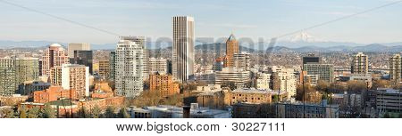 Portland Oregon Downtown Cityscape With Mount Hood