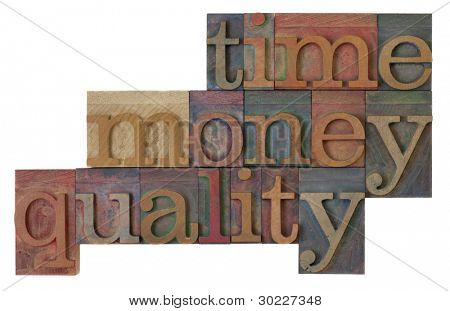 management strategy - time, money, quality words  in vintage wooden letterpress type blocks, stained by color ink, isolated on white