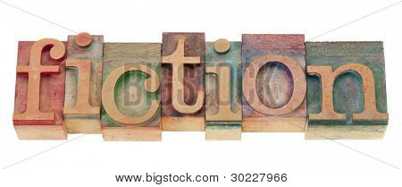 fiction - isolated word n vintage wood letterpress printing blocks
