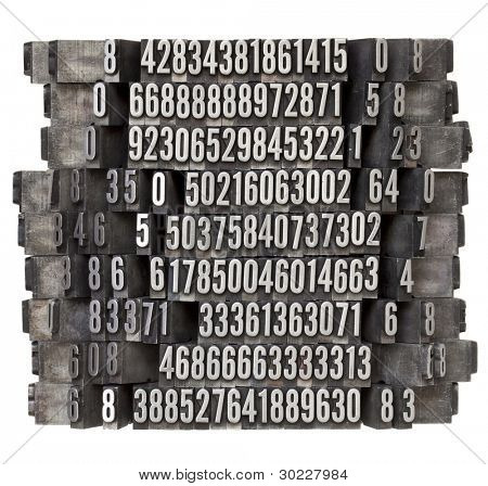 random numbers in vintage grunge metal letterpress printing blocks falling as in domino effect, isolated on white