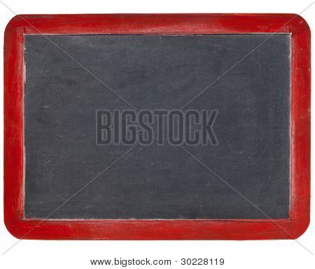 old blank slate blackboard in red wood frame, isolated on white