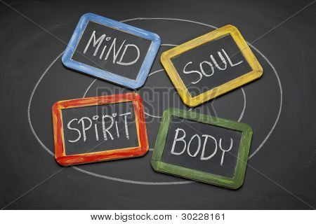 body, mind, soul, spirit - personal growth or development concept presented with white chalk and small slate blackboards