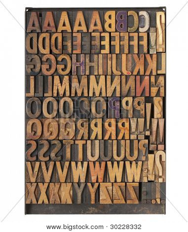 vintage wood letterpress printing blocks on a metal tray - the entire English alphabet with duplicate symbols and punctuation
