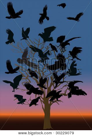 illustration with lot of ravens on dead tree