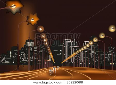 illustration with road in night city