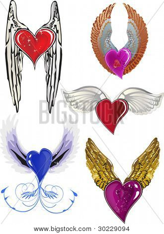 illustration with wings and hearts isolated on white background