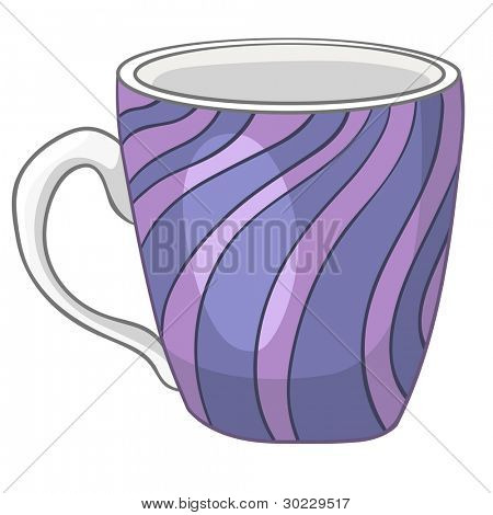 Cartoon Home Kitchen Cup Isolated on White Background. Vector.