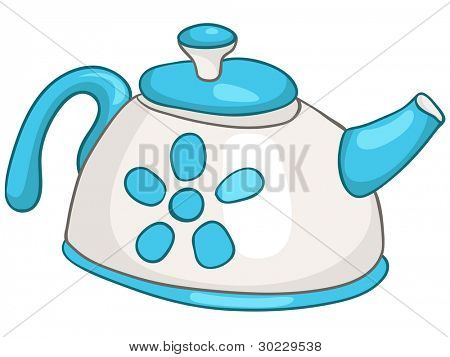 Cartoon Home Kitchen Kettle Isolated on White Background. Vector.