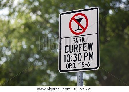 Park Curfew No Alcoholic Beverages Sign