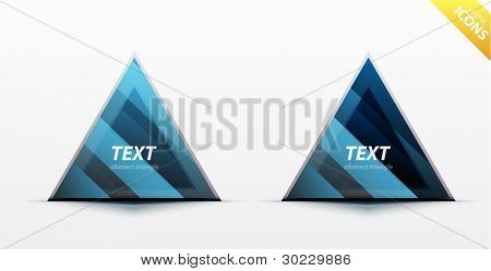 Business blue triangle icon set - light glossy translucent surface