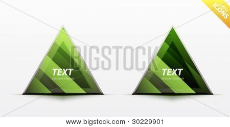 Business green triangle icon set - light glossy translucent surface