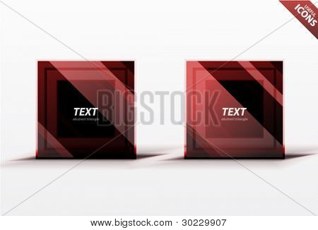 Business red square design elements. Striped dark square icons. Professional clean luxury style
