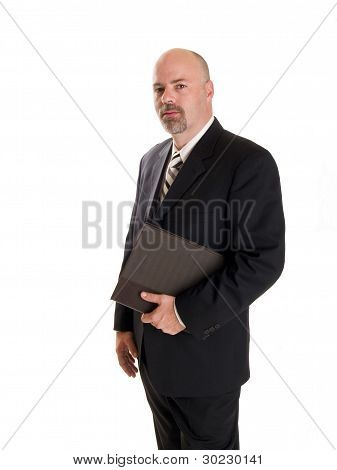 Businessman Holding Notebook