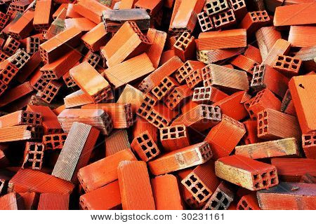 Bunch of bricks for construction