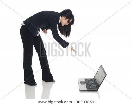 Businesswoman - Angry Laptop