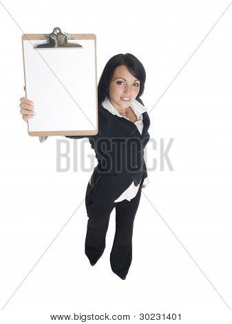 Businesswoman - Presenting Clipboard