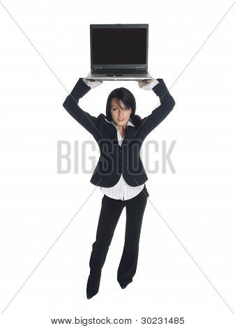 geschäftsfrau hohe laptop
