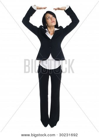 Businesswoman - Arms Overhead Holding