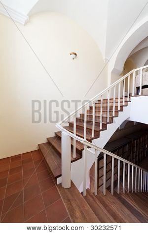 Classic building interior. Empty stairway.