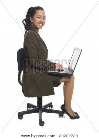 Businesswoman - Happy Sitting Laptop