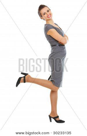 Full Length Portrait Of Happy Woman In Dress