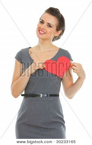 Woman In Dress With Paper Valentines Heart