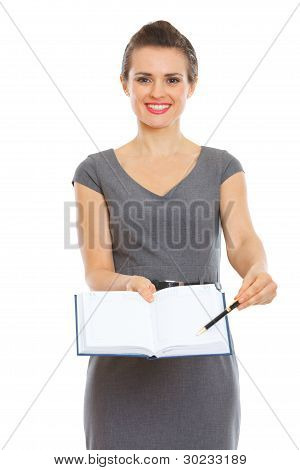 Secretary Showing Something In Notepad