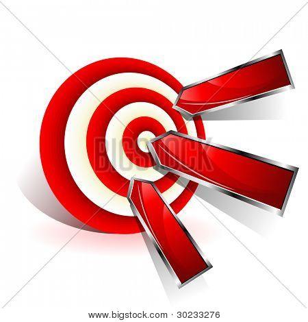 Soll-Konzept. Rote Dart trifft ein Ziel. Vektor-Zeichen.