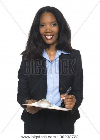 Businesswoman - Writing On Clipboard