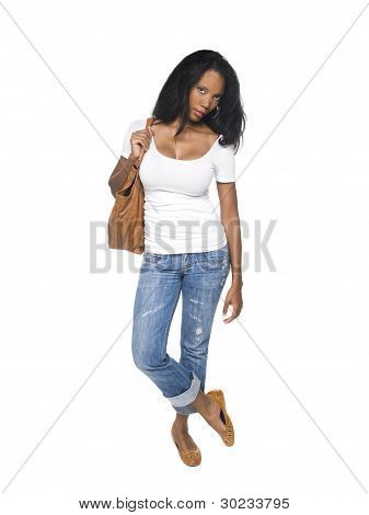 Fashion - Pretty Woman In Jeans With Bag