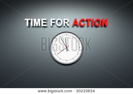 A wall with the words time for action
