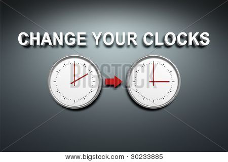 A wall with the words change your clocks