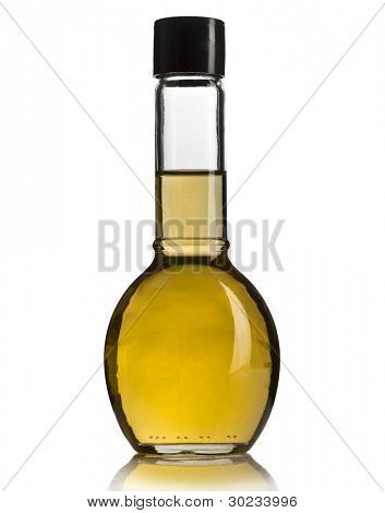 glass bottle with apple cider vinegar isolated on white