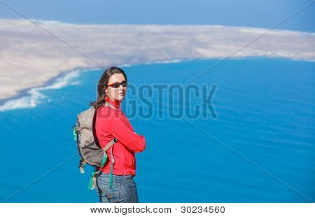 Portrait woman with backpack