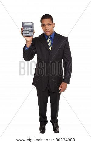 Businessman - Presenting Calculator